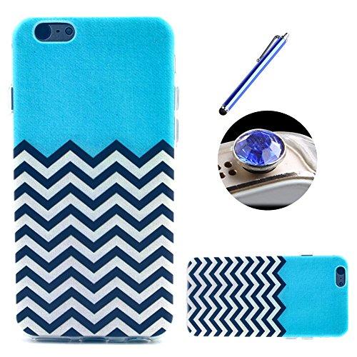 Etche TPU Housse pour iPhone 5C,Étui Coque Housse Pour iPhone 5C,coloré imprimé couvercle du boîtier de caoutchouc de silicone pour iPhone 5C + 1x Bleu style + 1x Bling poussière plug (couleurs aléato Pattern #22