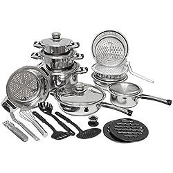 eyepower set Batería de Cocina juego de 27 piezas acero inoxidable 18/10   ollas sarténe tapaderas accesorios   para todos los tipos de cocinas de inducción gas eléctrica vitrocerámica   plateado