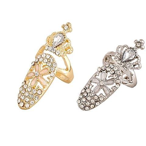 Belle Fingerspitze Ring Nail Art Modische Rhinestones Design Gold Silber Set (Packung mit 2 Stück)
