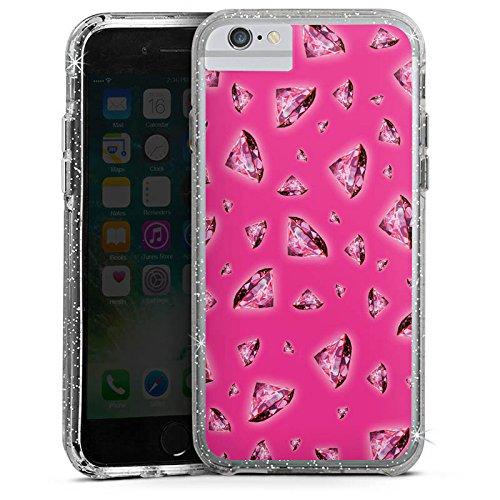 Apple iPhone 6s Plus Bumper Hülle Bumper Case Glitzer Hülle Diamonds Diamanten Pink Bumper Case Glitzer silber