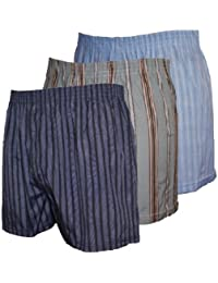 6 Pairs Mens Assorted Woven Loose Boxer Shorts - Sizes