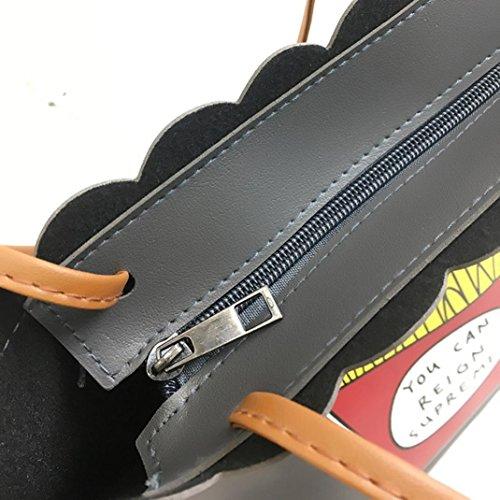 Pu Borsa In Pelle, Unisex Moda Stampa Lettera E Chip Borsa Borsa A Tracolla Tote Zip Bag di Kangrunmy Grigio