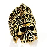 Bishilin Edelstahl Herren Ring Punk Indianer Totenkopf Männer Ring Gold Partnerringe Große 57 (18.1)