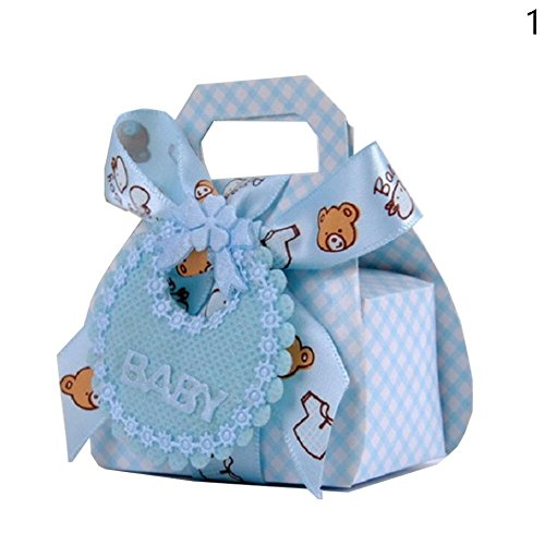 Cool Ring Bär Form Papier DIY Hochzeitsgeschenk Taufe Baby Shower Party Favor Boxen Pralinenschachtel mit Bib Tag Bänder 12pcs (Blau) (Bib Baby-cool)