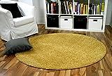 Hochflor Velours Teppich Mona Curry Gelb Rund in 7 Größen