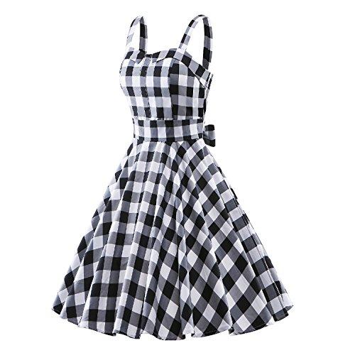 iLover Robes Femmes strap Retro 50s Vintage robe de bal Pinup Robe à rayures Rockabilly Party Black