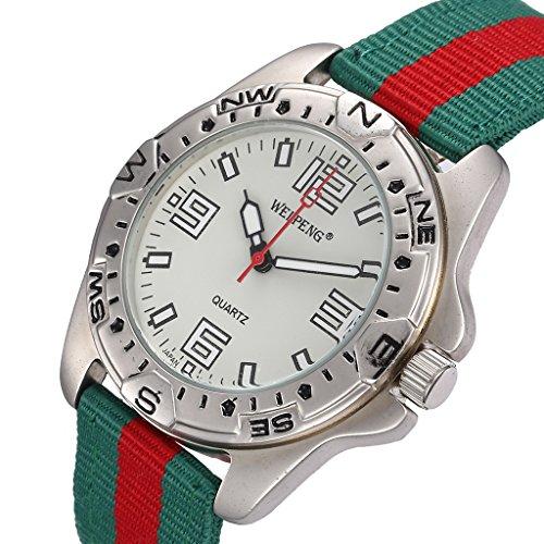 Unendlich U Fashion Grün Rot Nylon Gurt Quarzarmbanduhr Unisex Wasserdicht Armbanduhr für Reise/Geburtstag Weihnachten Geschenk