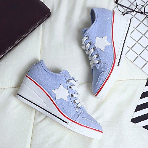 Alto Zeppa Scarpe In Con Canvas Donna Da Ochenta Tacco Sneaker qvxA7xwF