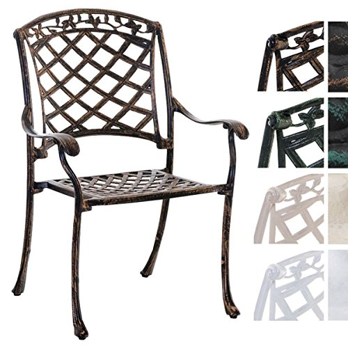 CLP Alu-Guss Garten-Stuhl Indira, Stapelstuhl mit Armlehnen, nostalgisches Design, Stuhl mit...