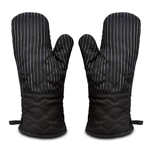 Ofenhandschuh Topfhandschuhe Hitzebeständig Topflappen Handschuh,BBQ Backofen Handschuhe,Grillhandschuhe Backhandschuhe Kochhandschuhe Schwarz Anti-Rutsch Silikon Baumwolle Lang Oven Glove Set 1 Paar