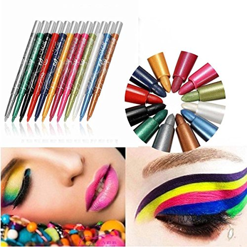 LuckyFine 12Pcs 12Couleurs Waterproof Flash Ombre A Paupières Eyeliner Lip Crayons A Lèvres Set