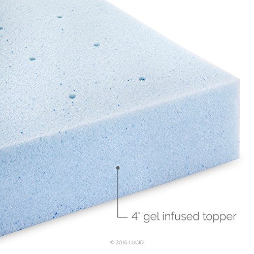 LUCID 4 Inch Gel Memory Foam Mattress Topper - Ventilated for Optimum Temperature -Twin Image 7