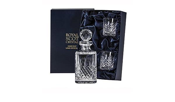 Whisky-Dekanter-Set mit Whisky-Gl/äsern 2 St/ück Kristall Royal Scot Crystal Edinburgh Crystal
