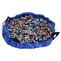 NEWSTYLE Childrens Play Mat and Toys Storage Bag - 60inch Kids Playbag Toys Organizer Quick Pouch. Great for Storing Small and Medium Size Toy like LEGOS - Simple, Portable, Sturdy!