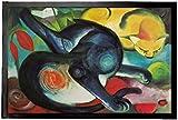 1art1 94204 Franz Marc - Zwei Katzen, Blau und Gelb, 1912 Fußmatte Türmatte 60 x 40 cm