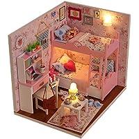Itian Decoración en miniatura modelo , DIY casa con luces y accesorios, de madera DIY Casa de muñecas, de Navidad hadas decoración del hogar Casa Regalo de Navidad