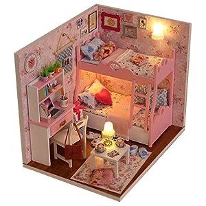 miniaturas: Itian Decoración en miniatura modelo , DIY casa con luces y accesorios, de mader...