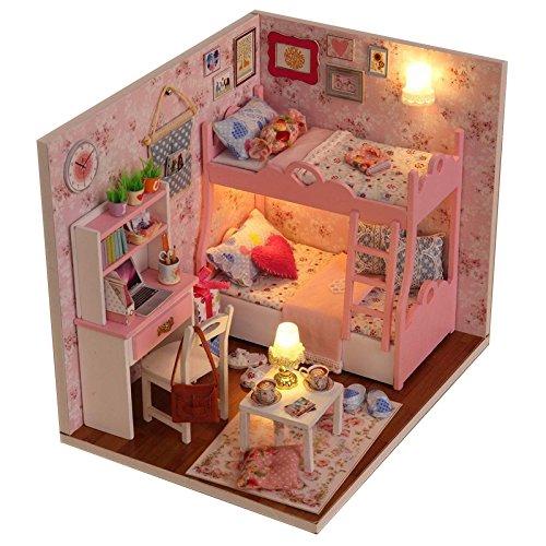 Itian Decoración en miniatura modelo , DIY casa con luces y accesorios,...