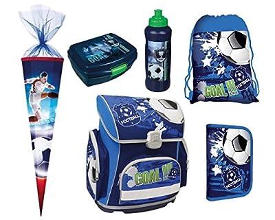 FUSSBALL FOOTBALL 6 Teile SCHULRANZEN RANZEN SCHULTÜTE FEDERMAPPE SET TASCHE + Sticker von Kids4shop