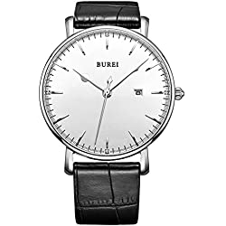 BUREI® Unisex Quarz Armbanduhr Datumsanzeige mit Lederarmband Schwarz