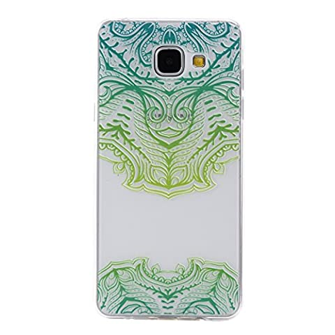 Samsung Galaxy A3 2016 Case, Samsung Galaxy A3 2016 Case Clear Silicone Back Cover, Cozy Hut Green mask Floral Designer Hard Shell Case [Clear Back Cover, Slim Fit, TPU Border] Anti Scratch Hard Protective Case for Samsung Galaxy A3 / A3100 (2016, 4.7 inch) - Green mask