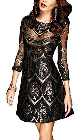 SunIfSnow - Robe spécial grossesse - Moulante - Uni - Manches 3/4 - Femme - or - Large