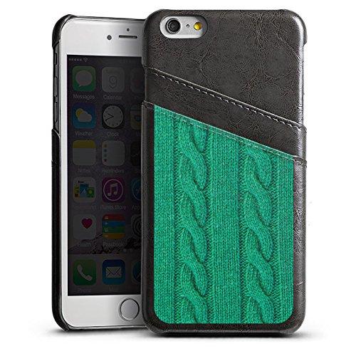 Apple iPhone 5s Housse Étui Protection Coque Look laine Corde Vert Étui en cuir gris