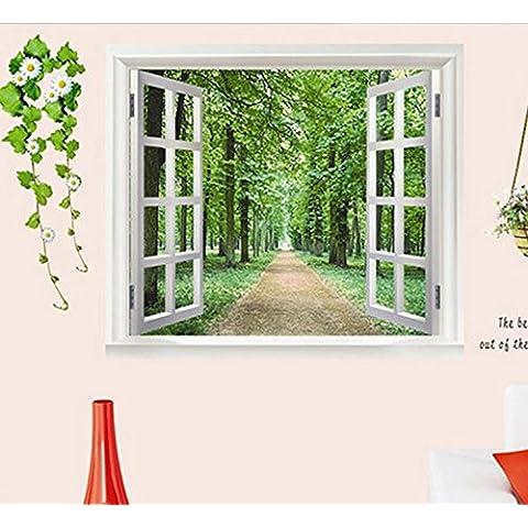 LLHZUO del 2016 nuevas pegatinas de pared DIY 3D Hermosa Ventana Vista del bosque Alley Tapiz Mural Art Decó Sala Infantil decoración decoración de hogar,AY823