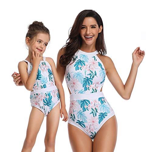 WANZIJING One Piece Bikini Set Eltern-Kind-Badeanzug Mode hoch taillierte Strandbadebekleidung Blumendruck Halter Schwimmen Kostüm für Mama und Mich,A,L (Für Mama Und Mich Kostüm)