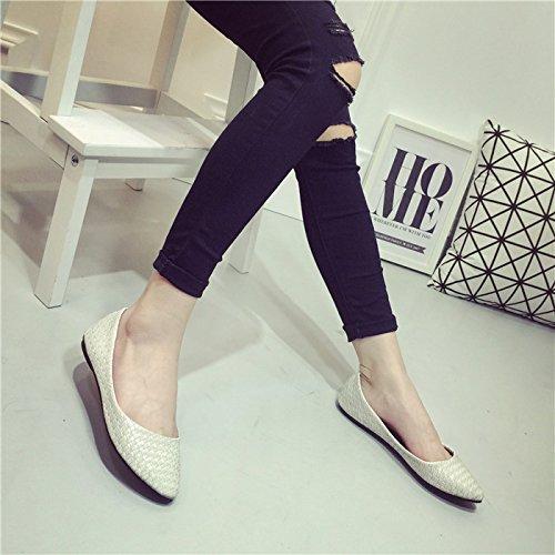 WYMBS Nouvelles chaussures loisirs chaussures bouche peu profonds tissés rétro chaussures femmes scoop confortables chaussures plates Blue