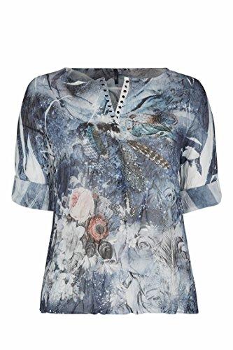 Paprika Damen große Größen Bluse aus Schleierstoff, mit Strass und bedruckt mit Federn Marine