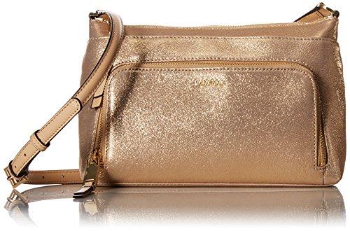 Calvin Klein Damen Suede Top Zip Crossbody Wildleder-Umhängetasche, Reißverschluss Oben, Gold, Einheitsgröße -