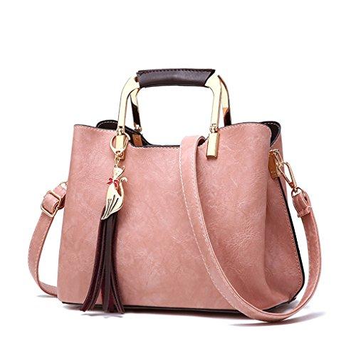 CLOTHES- Borsa delle signore Bagagli di cuoio genuino della borsa di cuoio selvaggia della nuova versione coreana di versione della donna della spalla Messenger della spalla ( Colore : Nero ) Rosa