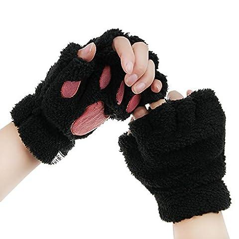 BXT Womens Girls Winter Cute Cartoon Animal Claw Half Finger Thick & Warm Soft Plush (Costumi Birthday Party Dress)