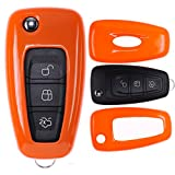 mt-key Klapp Schlüssel Cover Hülle FORD Mondeo S-Max Focus Fiesta Transit/Farbe: Orange