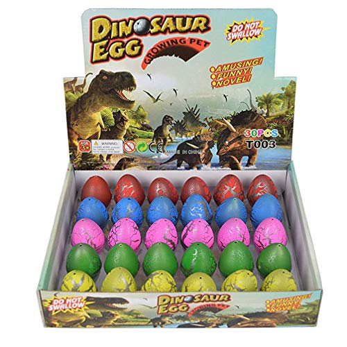 Wenosda Uova di Dinosauro Giocattolo novità Uovo da cova di Dinosauro per Bambini Large Size Confezione da 30 Pezzi, Rainbow Crackle