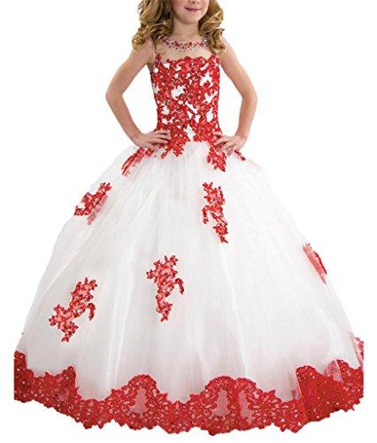 Pageant Kostüm Kleines Mädchen - PuTao Blumen Mädchen Spitze Hochzeitsfeier Prinzessin Ball Pageant Kleider White Red 14