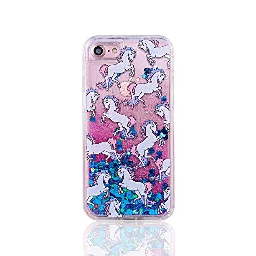 EMAXELERS iPhone 6S Hard Hülle,iPhone 6S Hülle Gold,iPhone 6S Case Transparent Clear Glitzer Liquid Crystal Hülle,iPhone 6S Hülle Rosa,iPhone 6S Hülle Bling 3D Kreative Liquid Case Etui für iPhone 6 4 Flamingo Liquid 6