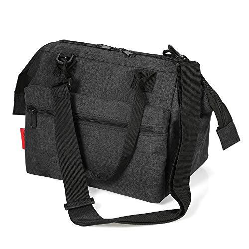 Esonmus borsa termica per il pranzo impermeabile borsa termica per biberon, borsa frigo con tracolla staccabile (nero)