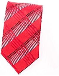 Schmale Krawatte Seidenkrawatte karo gestreift