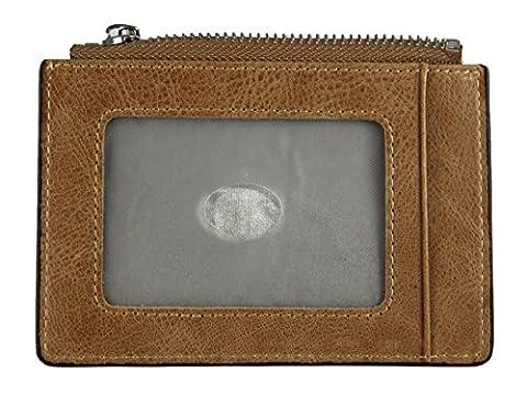 Porte-monnaie en microfibre en cuir, minimaliste, mince : porte-cartes pour les gens intelligents et modernes - GlimOrb (R) (cognac)