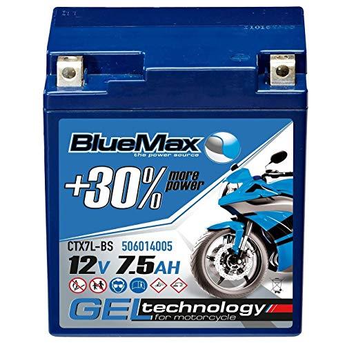 BlueMax YTX7L-BS Motorradbatterie GEL 12V 7,5Ah CTX7L-BS Batterie Roller 7Ah 6Ah