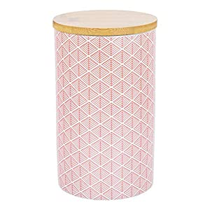 Nicola Spring Boîte à thé/café/Sucre - Porcelaine à Motif géométrique - Corail/Orange