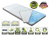 Sobrecolchón Gel Flow Deluxe, directamente del fabricante, con funda aloe vera, la espuma de gel se ajusta automáticamente a sus contornos, con banda climática banda, ideal para cama doble, suave, Espuma de gel, 70 x 200 cm