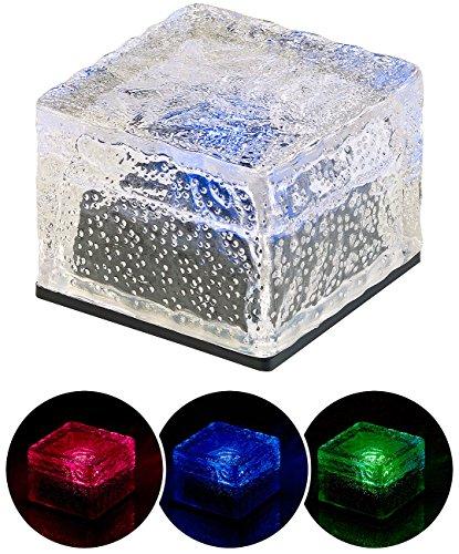 Lunartec Solar-LED-Bodenleuchte: Solar-RGB-LED-Glasbaustein mit Dämmerungsssensor, 7 x 5,4 x 7 cm, IP44 (Solar-LED-Wegleuchte)