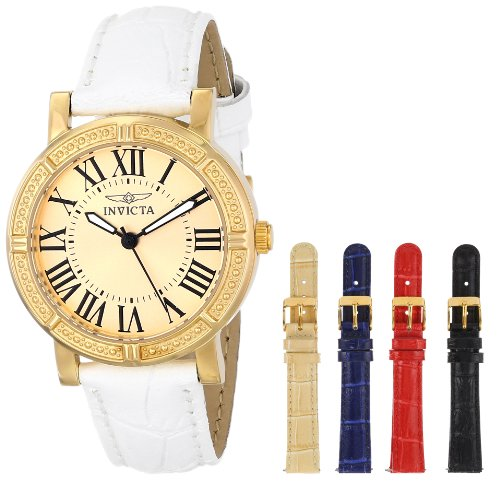 Invicta Women's 33mm White Calfskin Band Steel Case Quartz Champagne Dial Analog Watch 14892