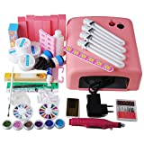 Coscelia Nailart UV Gel Set Profi-set Nageldesign Starterset + 36w UV Lampe/elektrische Nagelfräser Muttertag Geschenk