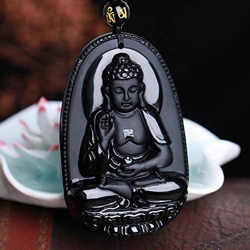 BGRHF Schmuck Obsidian Buddha Anhänger Männlich Frauen Halskette Tier Buddha Perlenvorhang Umgeschlagen Peeling Buddha Kopf Anhänger Schwarz (Tier-peelings Für Frauen)