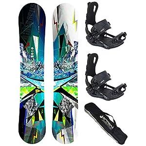 Airtracks Snowboard Set/Places Snowboard Wide Flat Rocker + Bindung Master FASTEC + SB Bag / 152 156 159 162 / cm