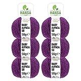 100% Alpakawolle in 50+ Farben (kratzfrei) - 300g Set (6 x 50g) - weiche Baby Alpaka Wolle zum Stricken & Häkeln in 6 Garnstärken by Hansa-Farm - Lila Heather